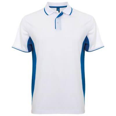 Polo tecnico sport blanco azul