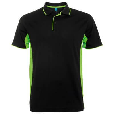 Polo tecnico sport negro verde