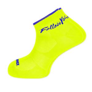 calcetin técnico tobillero amarillo fluor
